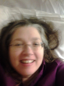 Me a recovering after a lumbar puncture.  It wasn't so bad.