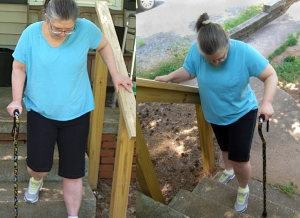 Wendy going up and down the steps for the 5th time, at 4 weeks after hip replacement surgery.